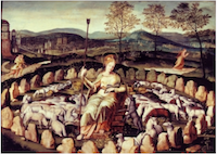 Sainte Geneviève gardant ses moutons, anonyme, musée Carnavalet (Paris).