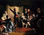 Rouget de Lisle chantant La Marseillaise pour la première fois à l'hôtel de ville de Strasbourg ou chez Dietrich en 1792 (Pils, 1849).