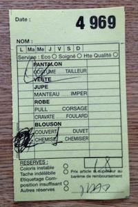 Ticket très utilisé de pressing