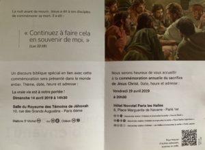 Invitation aux réunions des Témoins de Jéhovah le 14 avril dans la Salle du Royaume des Témoins de Jéhovah et le 19 avril au Novotel Paris Les Halles