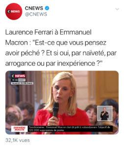 Tweet de la question de la journaliste de Cnews lors de la conférence de presse du président de la République