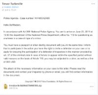 Email en anglais prétextant une convocation à la Police pour tenter de soutirer de l'argent au destinataire.