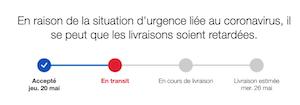 L'image montre le message évoqué dans le billet et un schéma montrant la progression de la livraison.