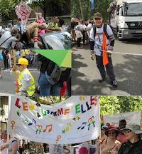 Quatre photo de la marche des fierté, où je défile avec madame H, avec David et Jonahtan, en SO du centre LGBT, et avec les Gamme'elles