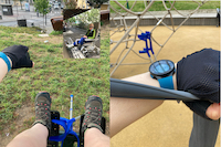 Montage photo, deux au sqaure où on vois mes pieds sur des appareil avec les cannes au loin, une dans un fauteil à l'hopital.